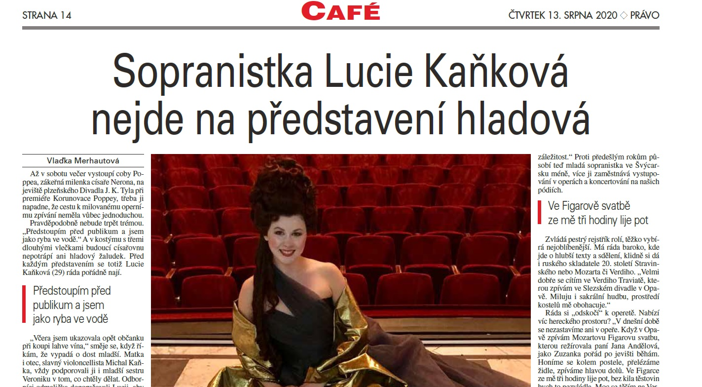 Rozhovor pro Právo, příloha CAFÉ a Novinky.cz